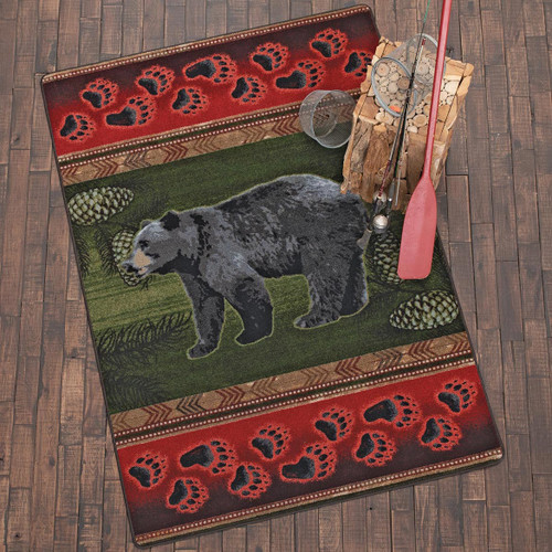 Black Bear Tracks Rug - 5 x 8
