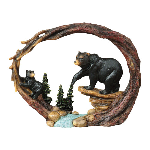 Black Bear with Cub by the Stream Sculpture
