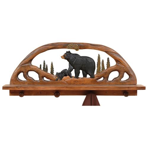 Black Bear Wood Shelf / Coat Rack