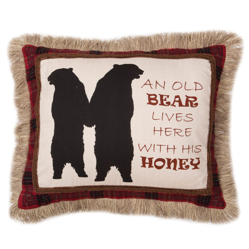 Black Bears Applique Embroidered Pillow