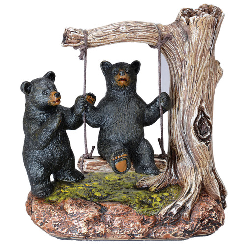 Black Bears Swing Figurine