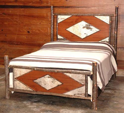 Black Forest Hickory Diamond Birch Bark Bed - Queen