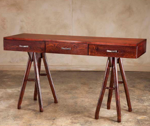 Black Forest Hickory Topridge Plank Console Table