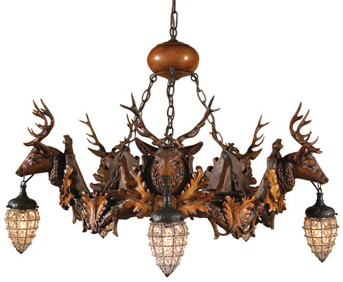 Black Forest Stag and Globe Chandelier