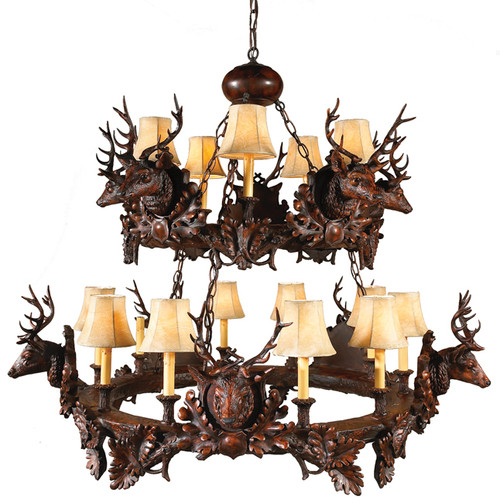 Black Forest Stag Head Two Tier Chandelier