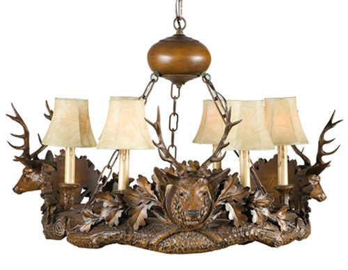 Black Forest Three Small Stag Heads Chandelier