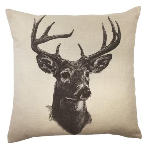 Black on Cream Deer Accent Pillow