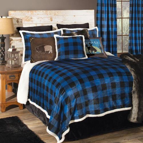 Blue Buffalo Check Bed Set - Queen