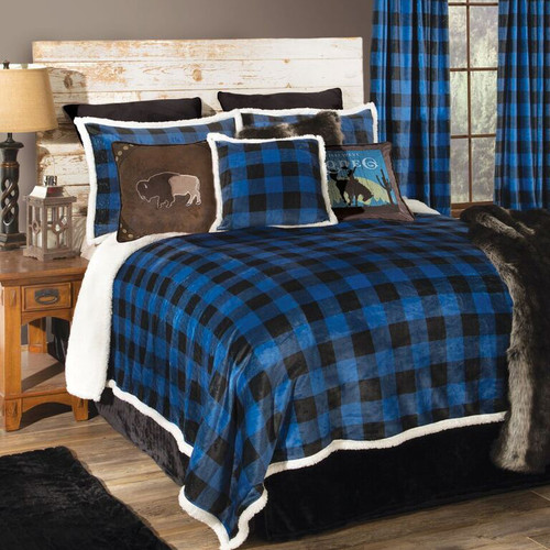 Blue Buffalo Check Bed Set - Twin - OVERSTOCK