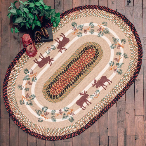 Moose & Pinecone Braided Rug Collection