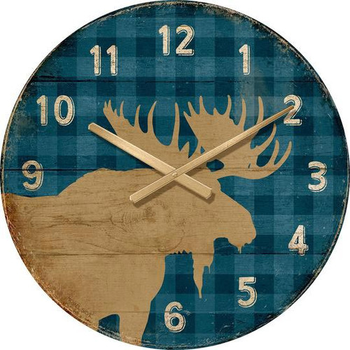 Blue Plaid Moose Wall Clock