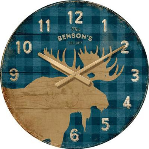 Blue Plaid Moose Wall Clock - Personalized
