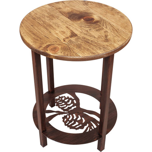 Boise End Table with Pinecone Scene