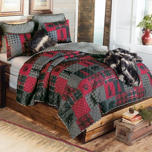 Boulder Bear Plaid Quilt Set - Twin