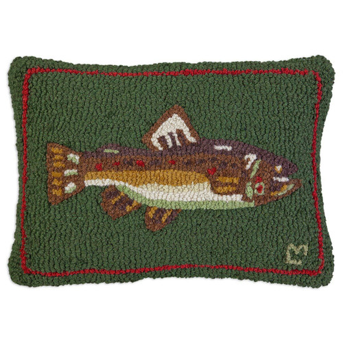 Brown Trout on Green Hooked Wool Rectangle Pillow