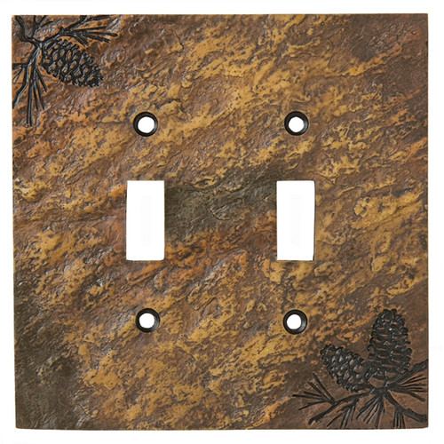 Stone Finish Pinecone Double Switch Cover