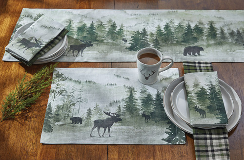 Mystic Forest Moose & Bear Table Linens