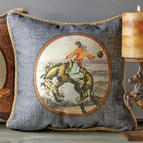 Bucking Horse Cowboy Pillow