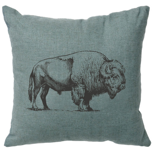 Buffalo Linen Pillow - Ocean