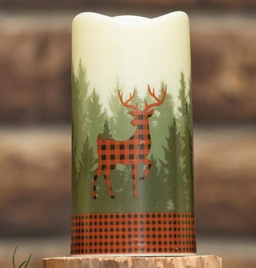 Buffalo Plaid Deer LED Candle
