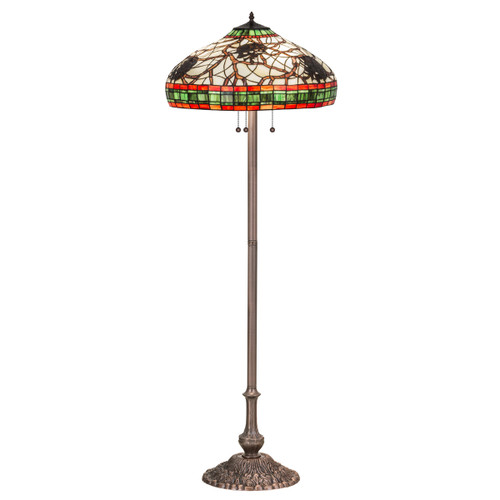 Burgundy Pinecones Round Floor Lamp