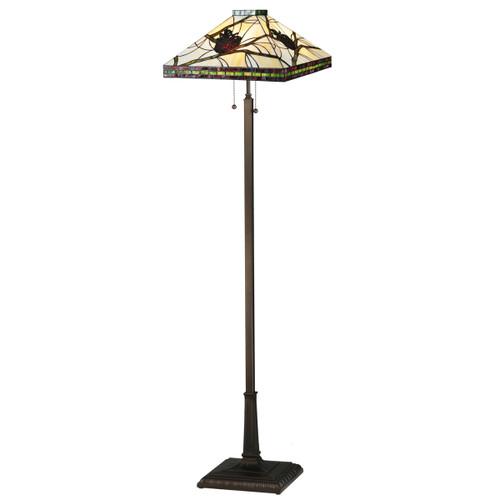 Burgundy Pinecones Square Floor Lamp