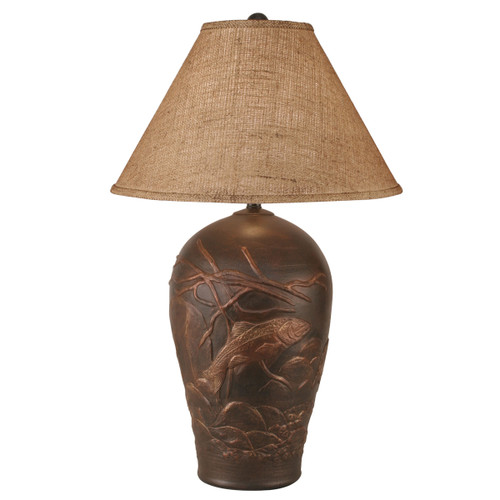 Burnished Copper Trout Table Lamp