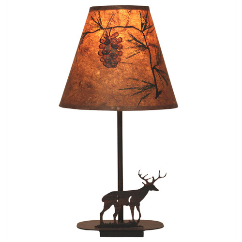 Burnt Sienna Deer Accent Lamp with Pinecone Shade