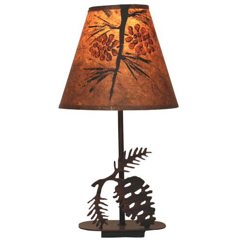Burnt Sienna Pinecone Accent Lamp with Matching Shade