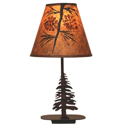 Burnt Sienna Tree Accent Lamp with Pinecone Shade