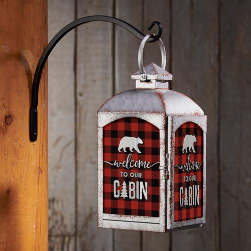 Cabin Bear Lantern - Silver