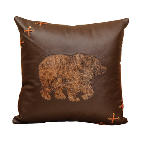 Cabin Bear Leather Accent Pillow with Hair on Hide