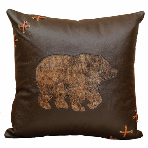 Cabin Bear Leather Accent Pillow with Hair on Hide and Fabric Back
