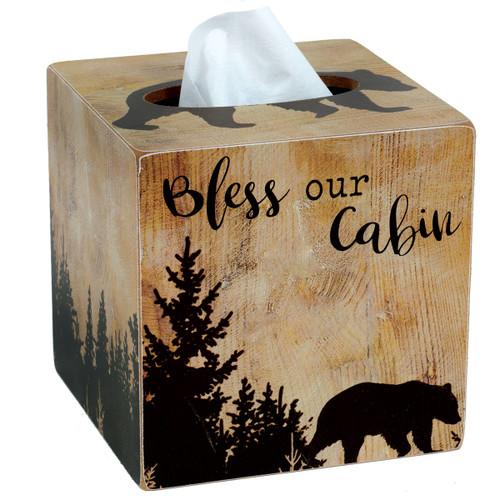 Cabin Blessings Bear Tissue Box