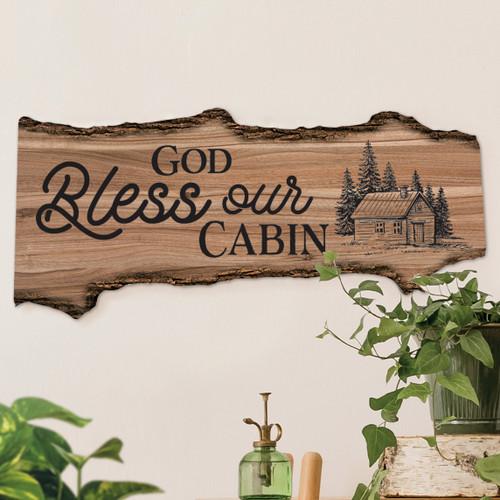 Cabin Blessings Log Sign