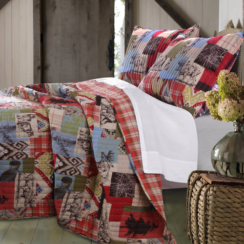 Cabin Collage 3pc Quilt Set - King