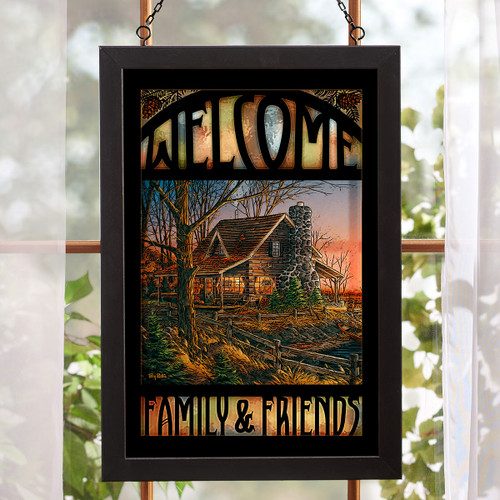 Cabin Comforts Welcome Stained Glass Art