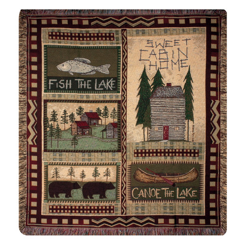 Cabin Icons Tapestry Throw