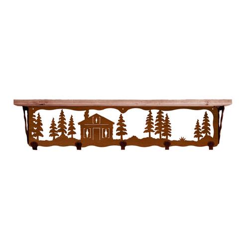 Cabin in Pines 34 Inch Pine Hook Shelf