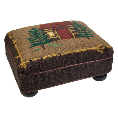Cabin in the Woods Hooked Top Footstool