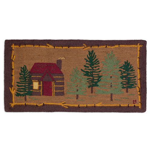 Cabin in the Woods Hooked Wool Accent Rug