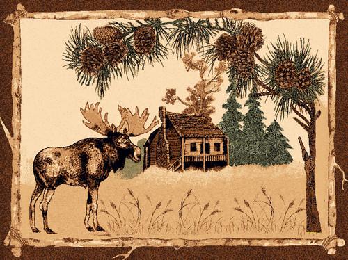 Cabin Moose Rug - 8 x 10