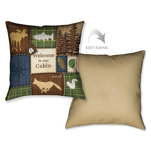Cabin Patchwork Print Pillow