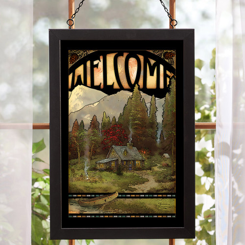 Cabin Welcome Stained Glass Wall Art