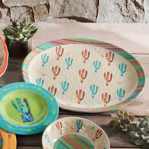 Cactus Design Melamine Serving Platter - OVERSTOCK