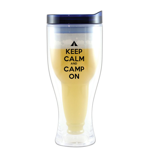 Camp On Beer Tumblers with Blue Lids - Set of 4