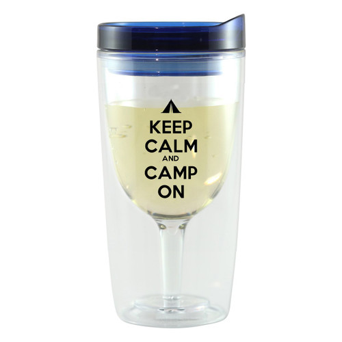 Camp On Wine Tumblers with Blue Lids - Set of 4