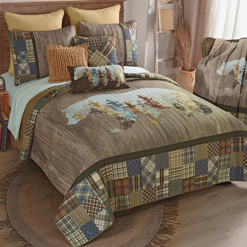 Peaceful Forest Bear Quilt Bedding Collection