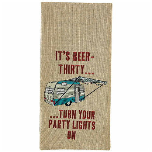 Camper Beer Embroidered Dishtowels - Set of 6