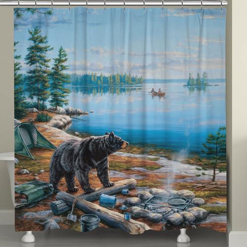 Camping Bear Shower Curtain